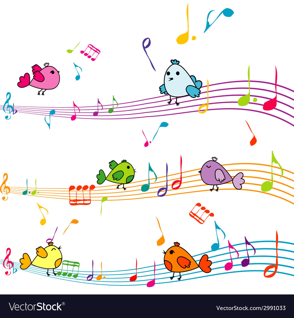 Music note with cartoon birds singing vector | Price: 1 Credit (USD $1)
