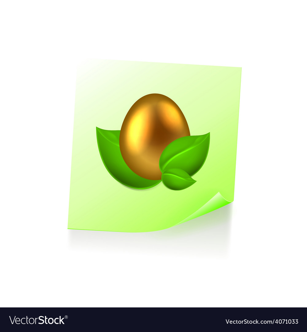 Note with golden easter egg in green leaves vector | Price: 1 Credit (USD $1)