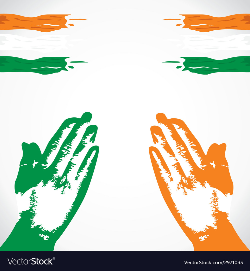 Praying in hand india flag color vector | Price: 1 Credit (USD $1)