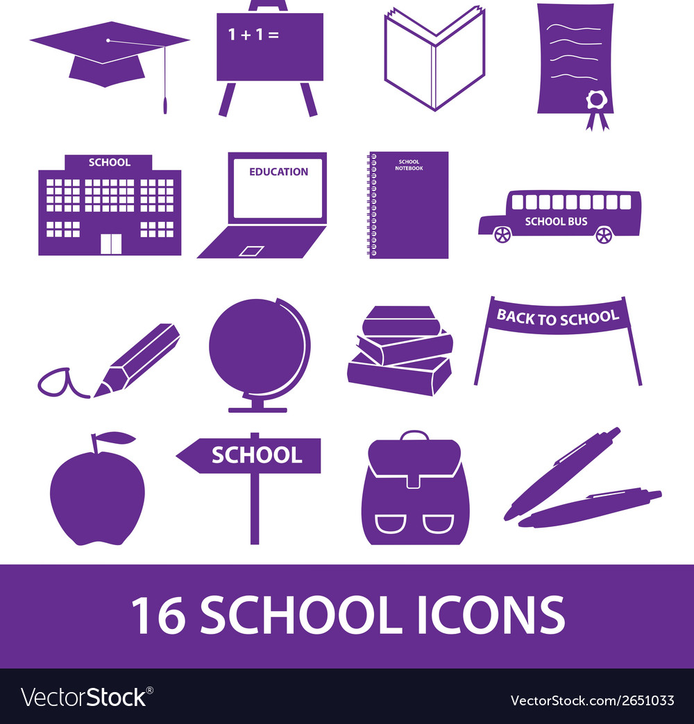 School icon set eps10 vector | Price: 1 Credit (USD $1)