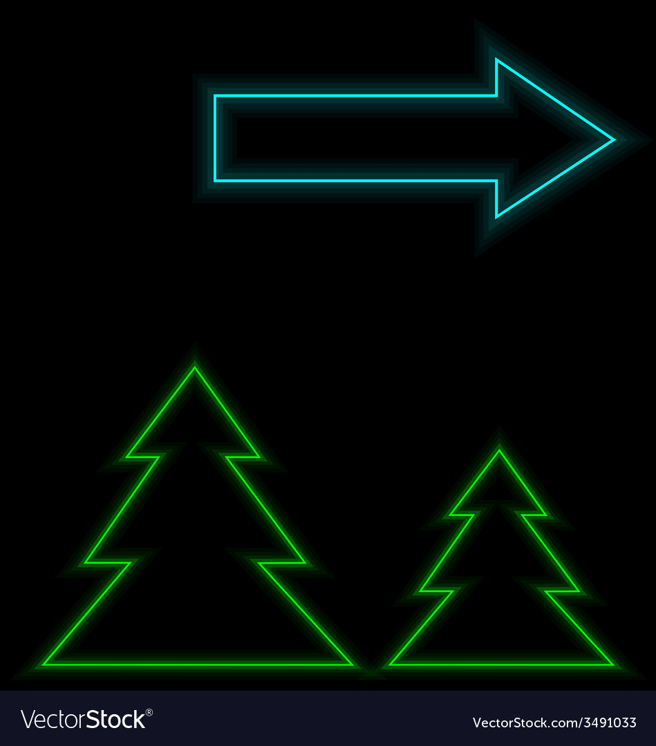 Self-illuminated christmas trees with arrow vector | Price: 1 Credit (USD $1)