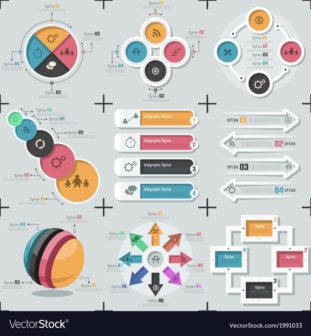 Set of 9 flat minimal infographics vector   Price: 1 Credit (USD $1)