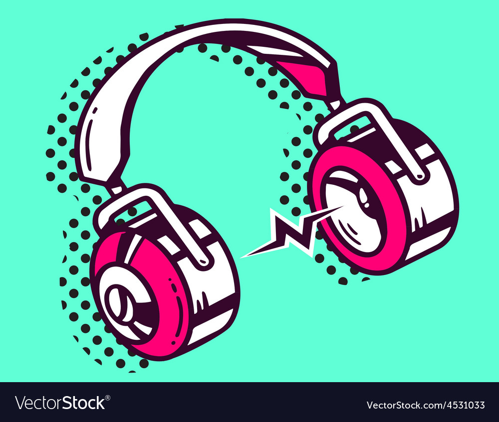 White and red headphone on green backgrou vector | Price: 1 Credit (USD $1)
