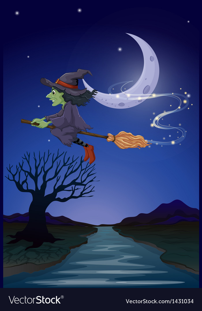 A witch travelling with her broomstick in the vector | Price: 1 Credit (USD $1)