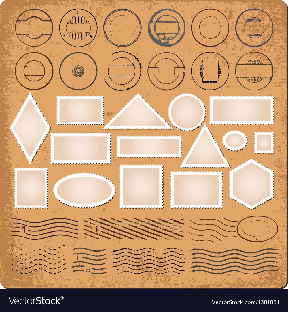 Blank borders and grunge rubber stamps vector