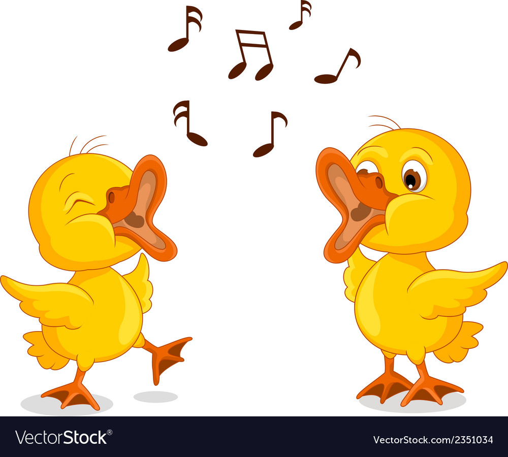 Cute two little chick cartoon singing vector | Price: 1 Credit (USD $1)