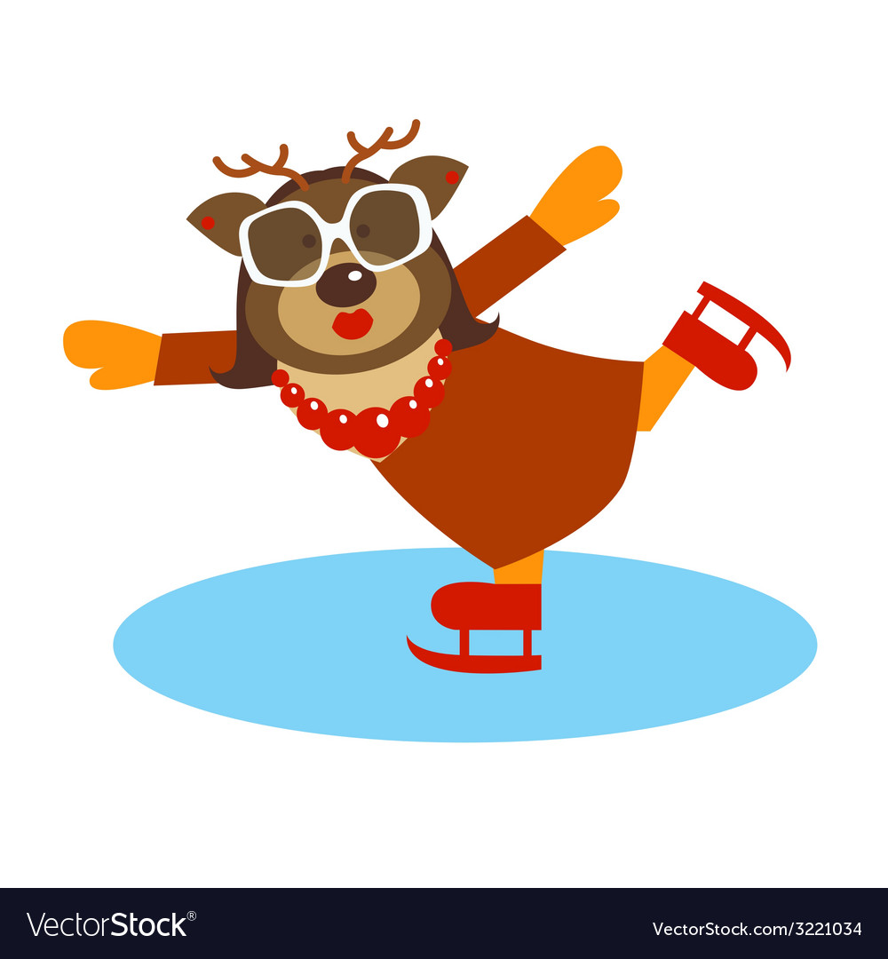 Deer character on the skates vector | Price: 1 Credit (USD $1)