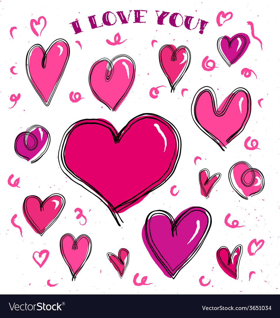 Doodle hearts card vector | Price: 1 Credit (USD $1)