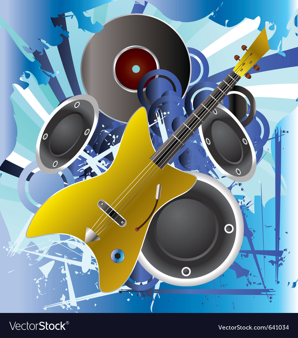 Music background with guitar vector | Price: 1 Credit (USD $1)