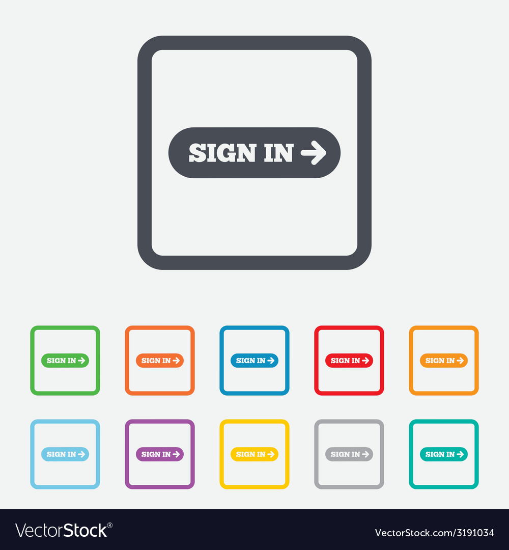Sign in with arrow sign icon login symbol vector | Price: 1 Credit (USD $1)