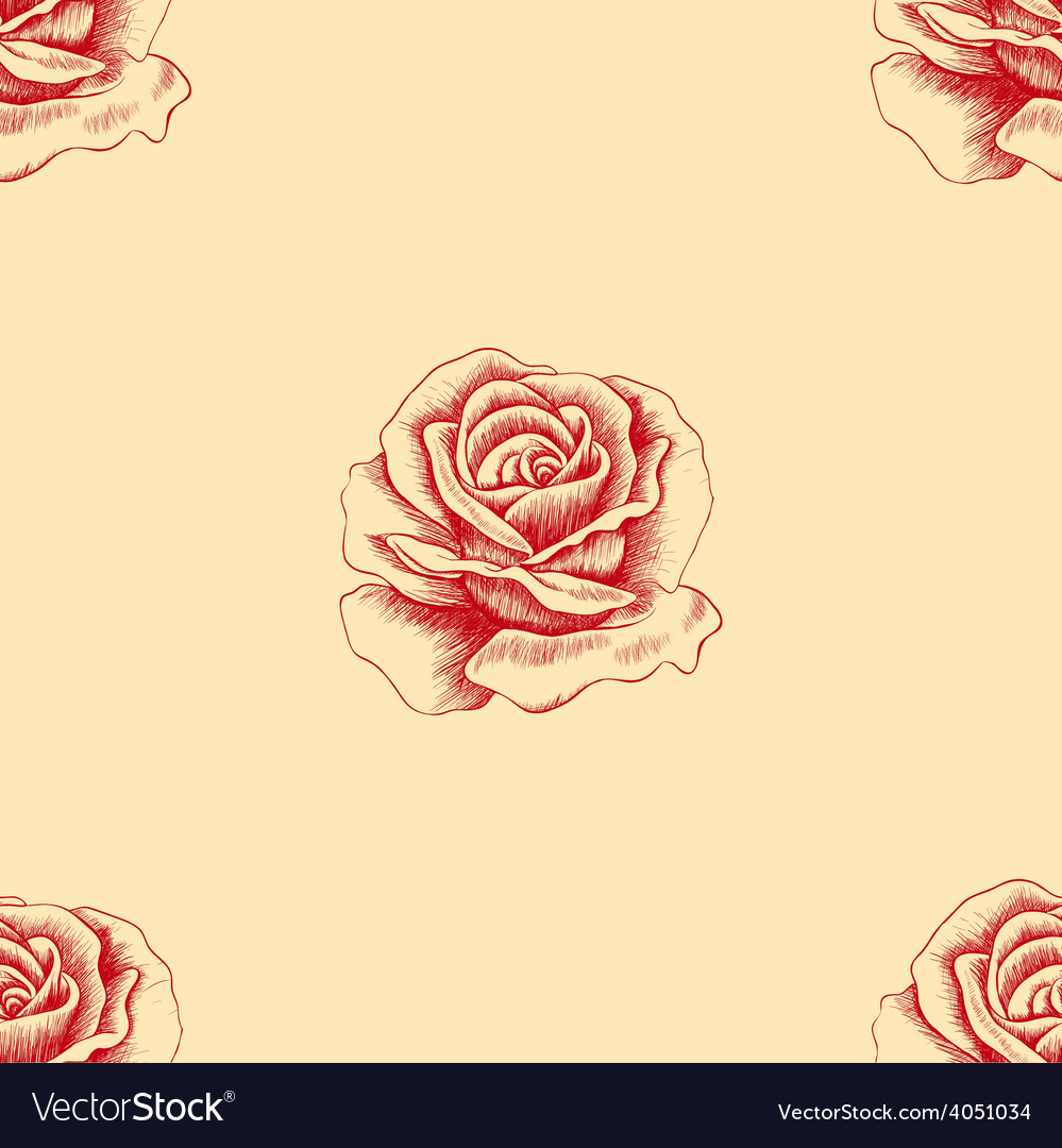 Sketch red rose seamless pattern hand drawn flower vector | Price: 1 Credit (USD $1)