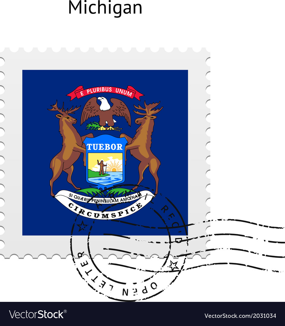 State of michigan flag postage stamp vector | Price: 1 Credit (USD $1)
