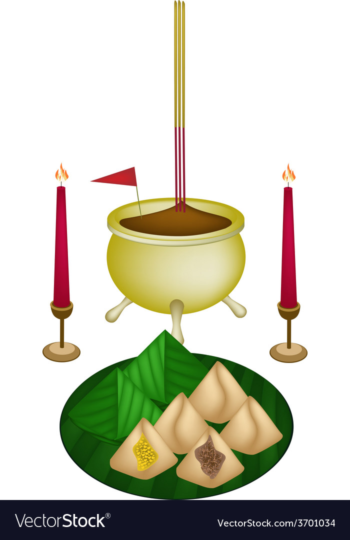 Stuffed dough pyramid dessert for new year worship vector | Price: 1 Credit (USD $1)