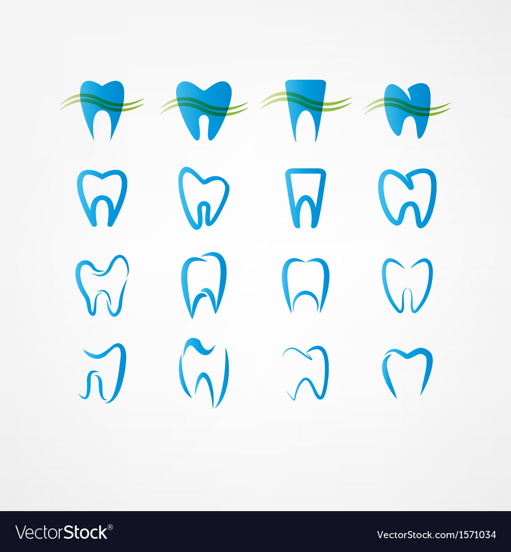 Tooth icon set vector | Price: 1 Credit (USD $1)