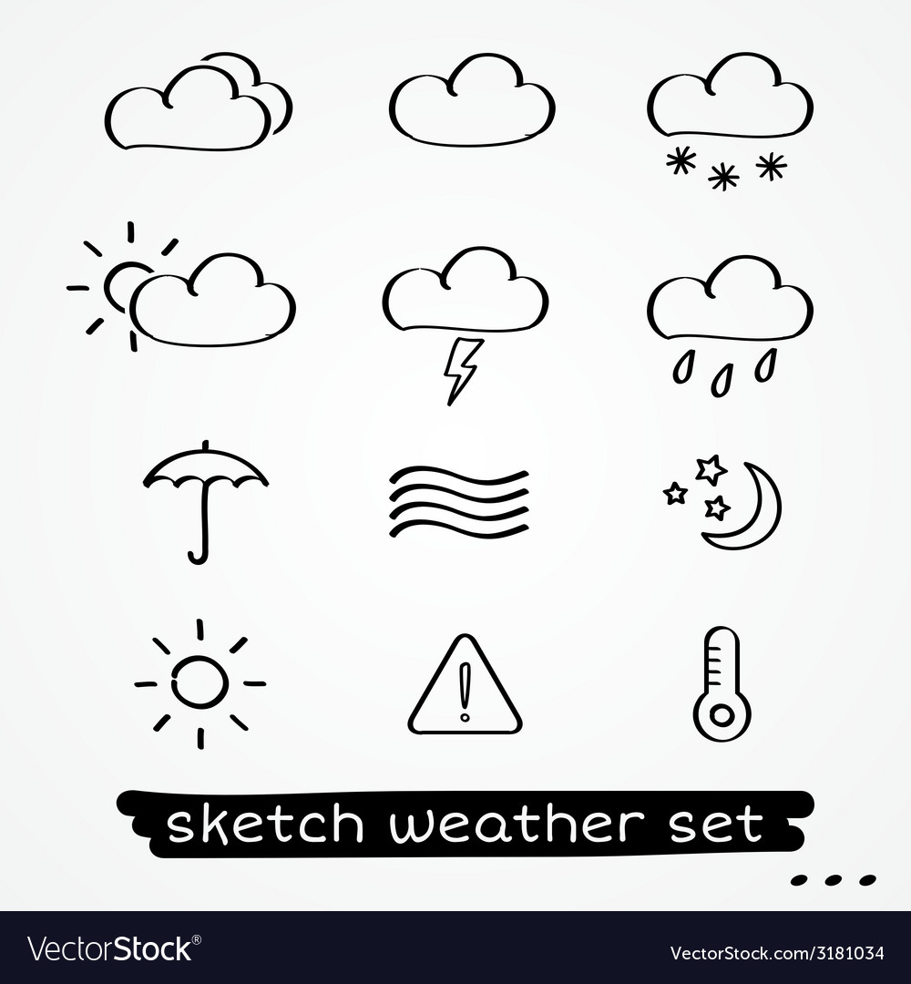 Weather sketch set vector | Price: 1 Credit (USD $1)