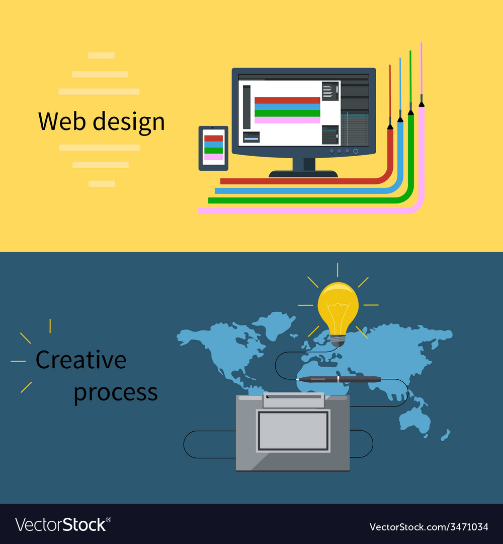 Web design and creative process concept vector | Price: 1 Credit (USD $1)