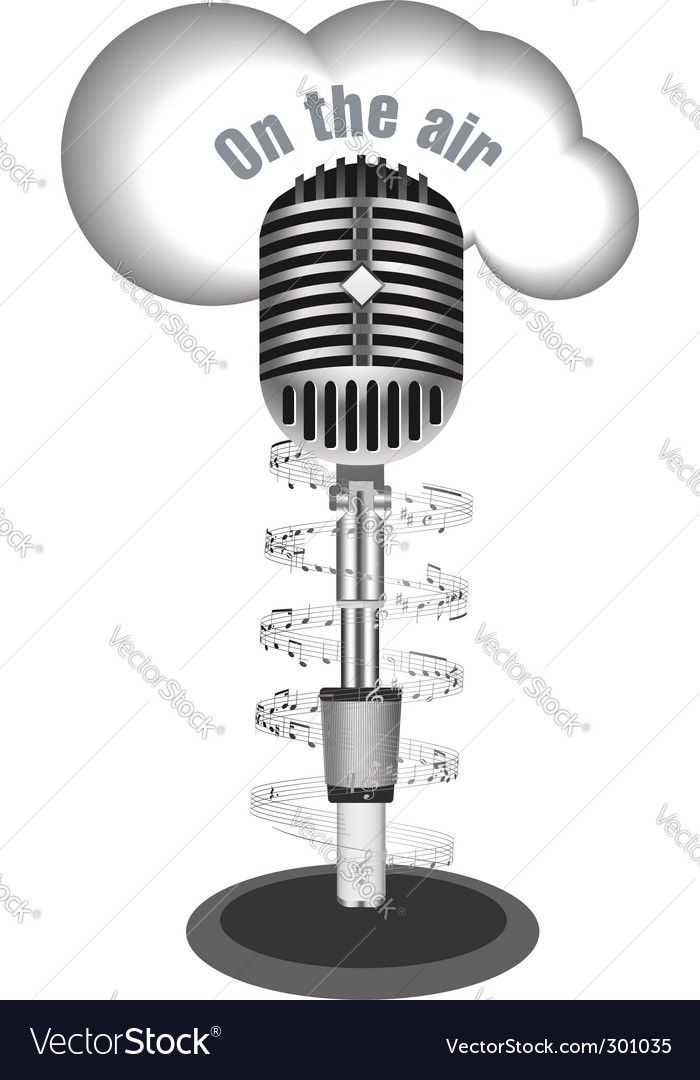 Antique microphone with music note vector | Price: 1 Credit (USD $1)