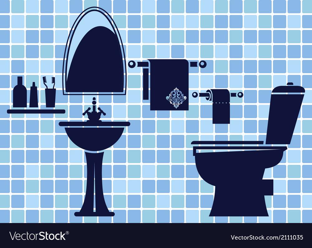 Blue bathroom interior vector | Price: 1 Credit (USD $1)