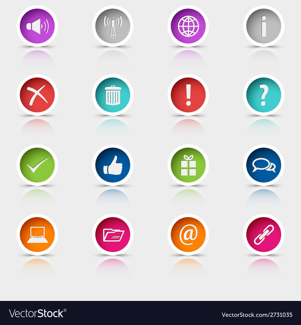 Colored set round web buttons element vector | Price: 1 Credit (USD $1)