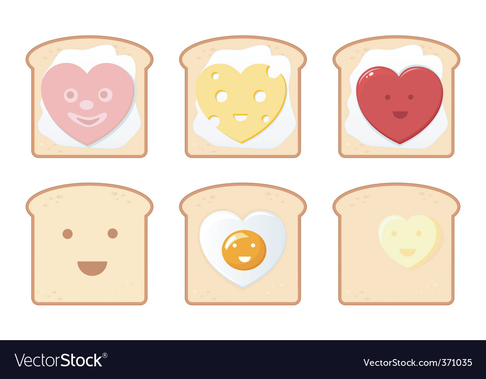 Comic toast icons vector | Price: 3 Credit (USD $3)