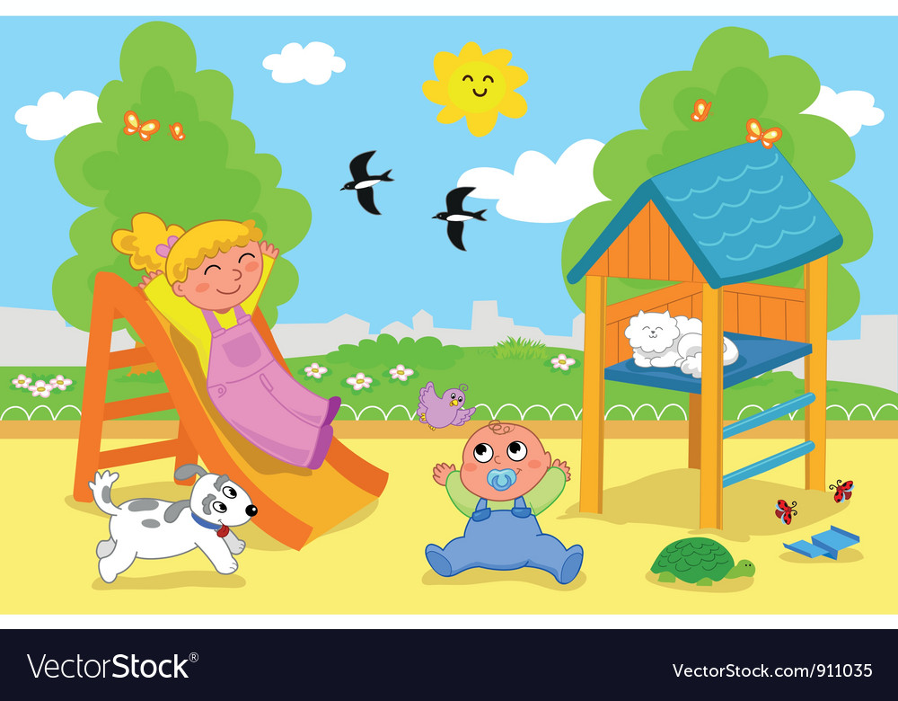 Cute children at the playground in spring vector | Price: 3 Credit (USD $3)