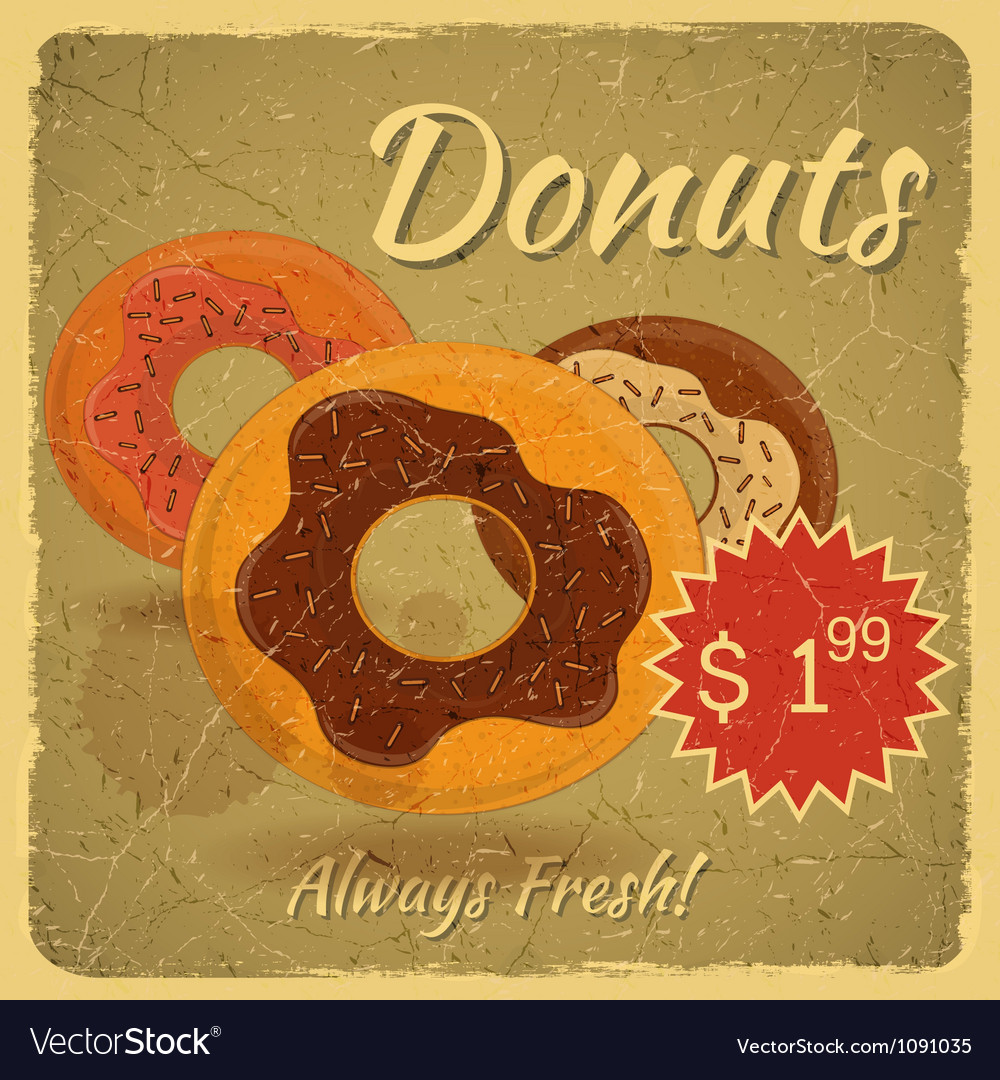 Donuts on grunge background vector | Price: 1 Credit (USD $1)