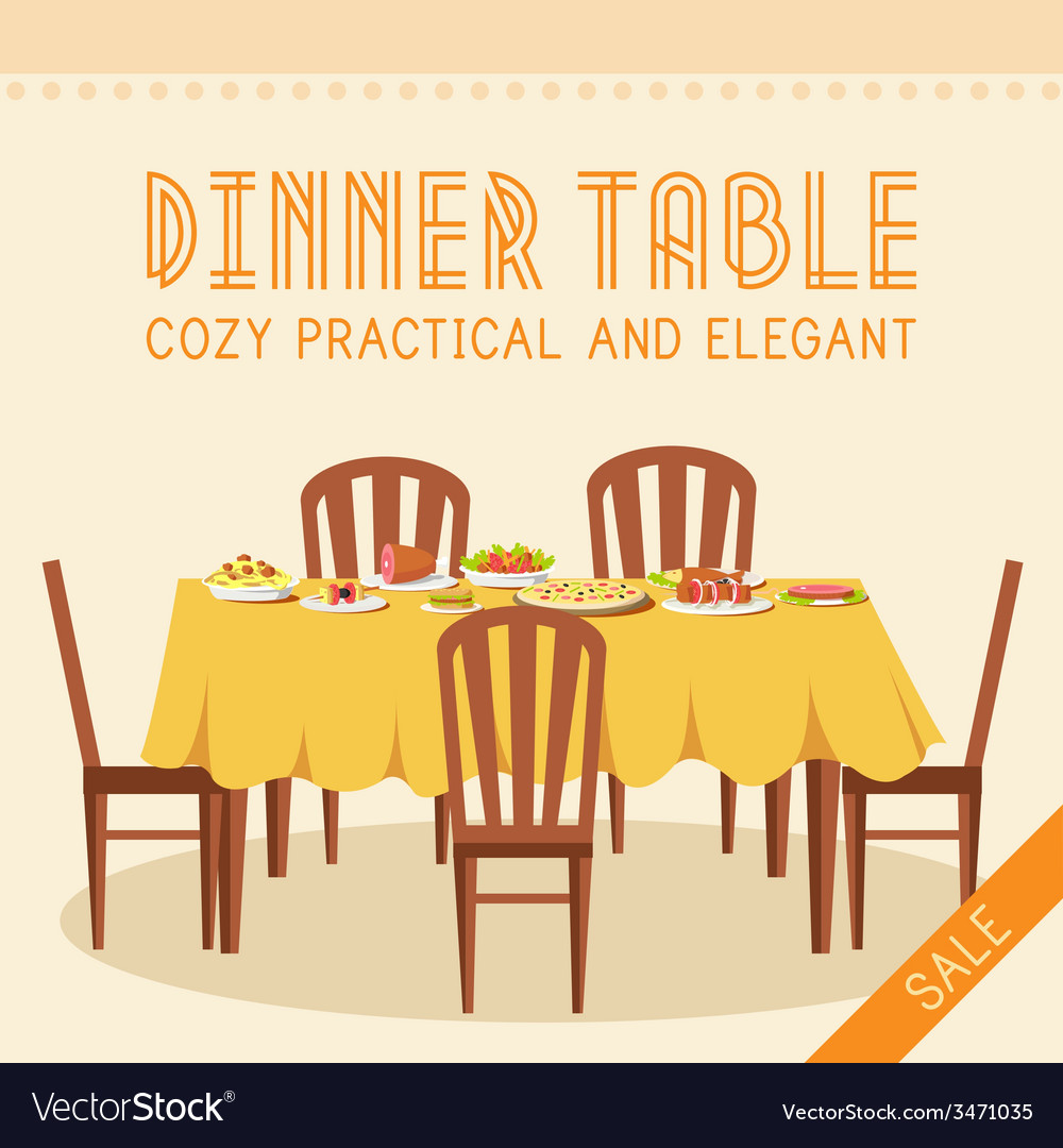 Flat vintage dinner table with many food vector | Price: 1 Credit (USD $1)