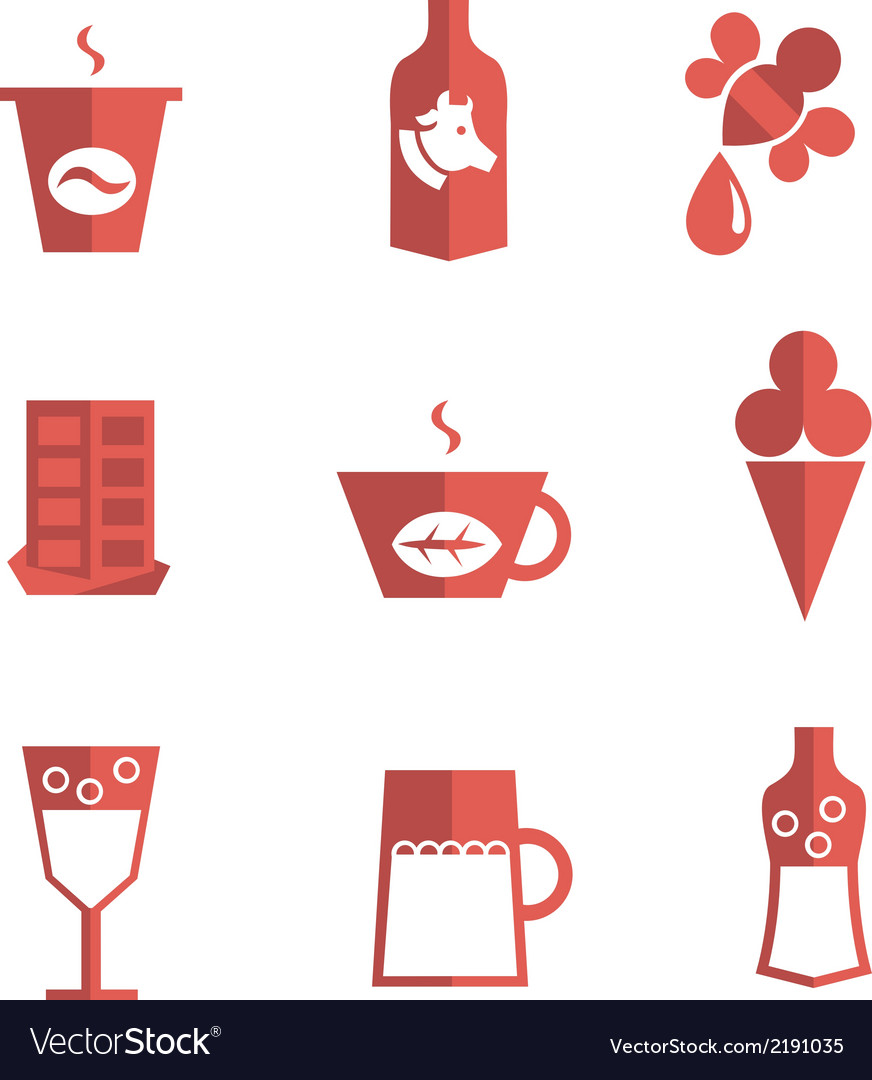 Liquid for drinking and dessert flat icons vector | Price: 1 Credit (USD $1)