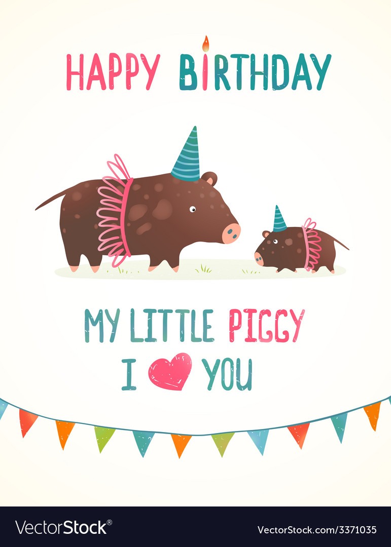 Little piggy and mother birthday greeting card vector | Price: 1 Credit (USD $1)