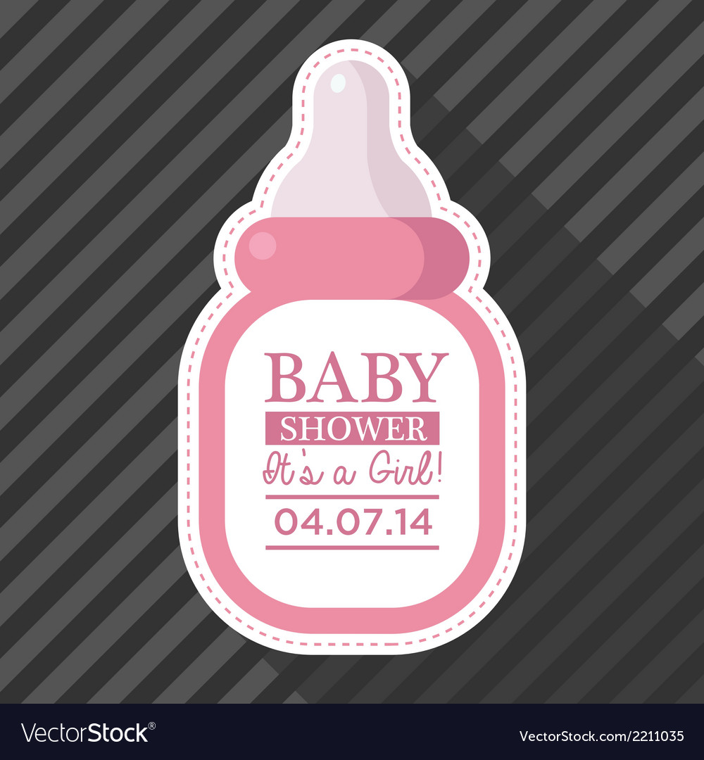Pink baby bottle card vector   Price: 1 Credit (USD $1)
