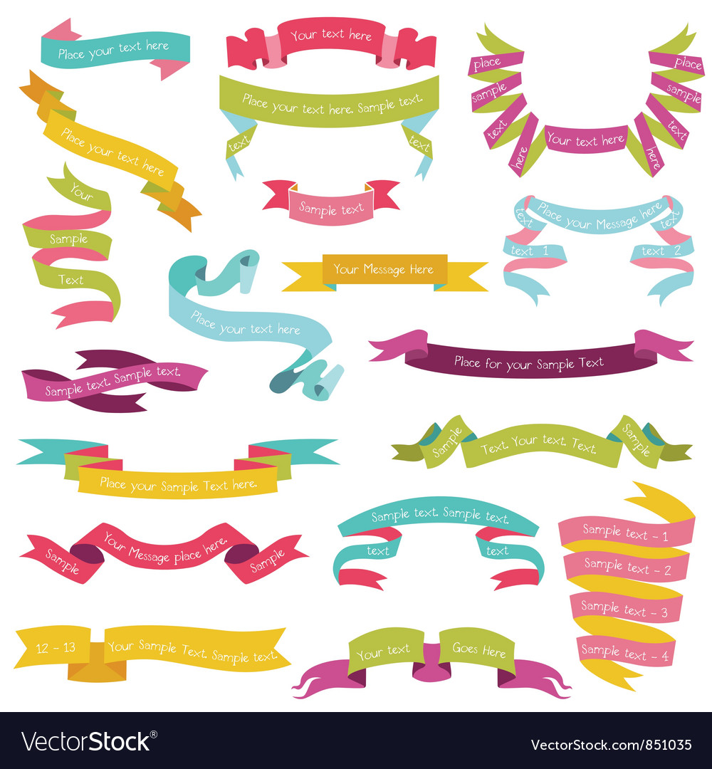 Set of colorful ribbons for your text vector | Price: 1 Credit (USD $1)