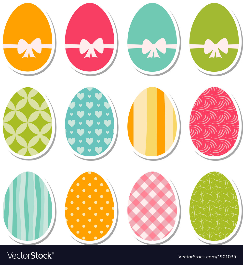 Set of egg stickers vector   Price: 1 Credit (USD $1)