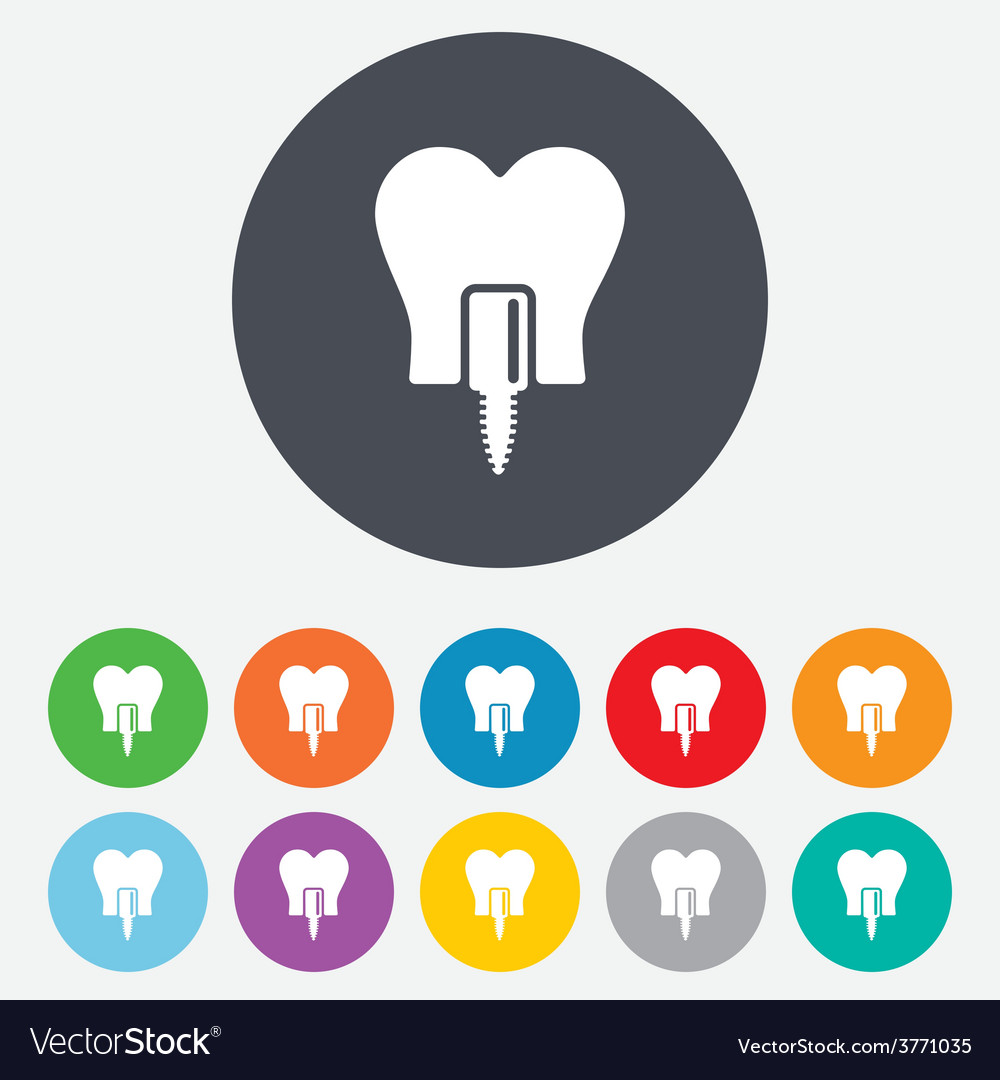 Tooth implant sign icon dental care symbol vector | Price: 1 Credit (USD $1)