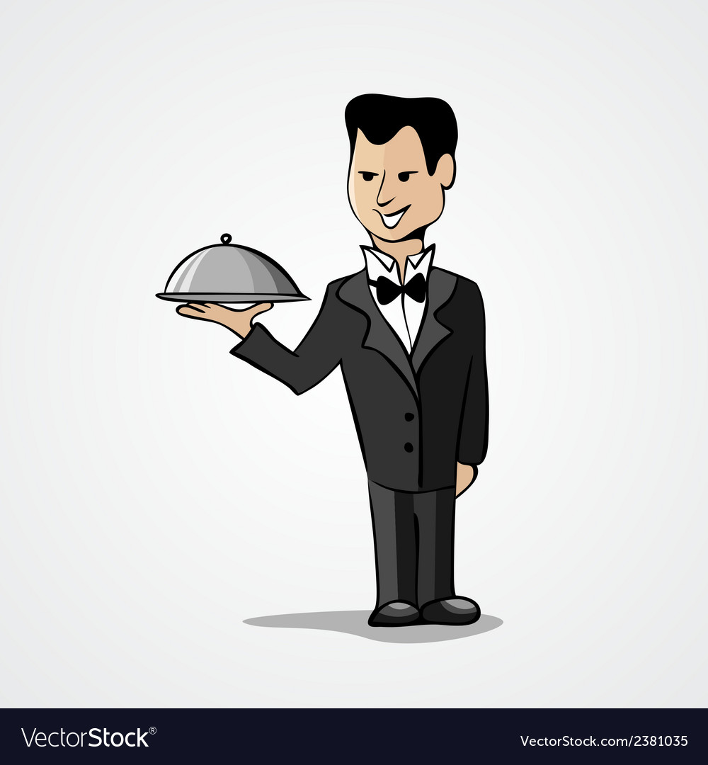Waiter with a tray isolated on white background vector | Price: 1 Credit (USD $1)