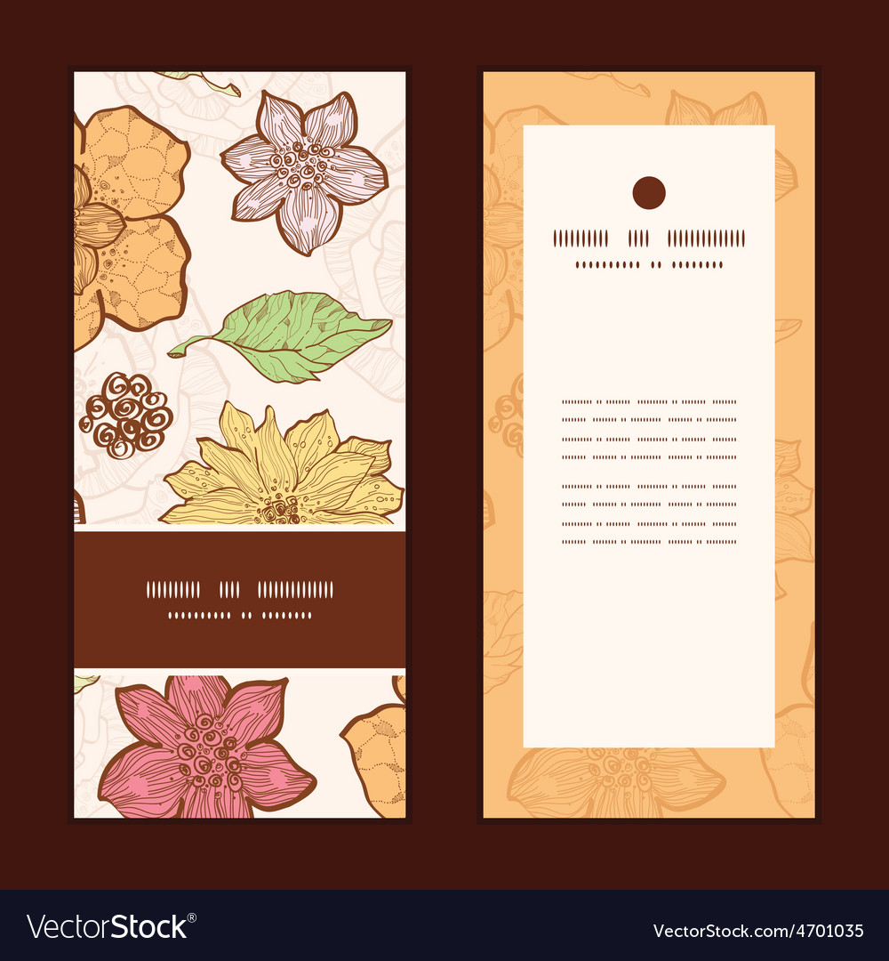 Warm fall lineart flowers vertical frame vector | Price: 1 Credit (USD $1)