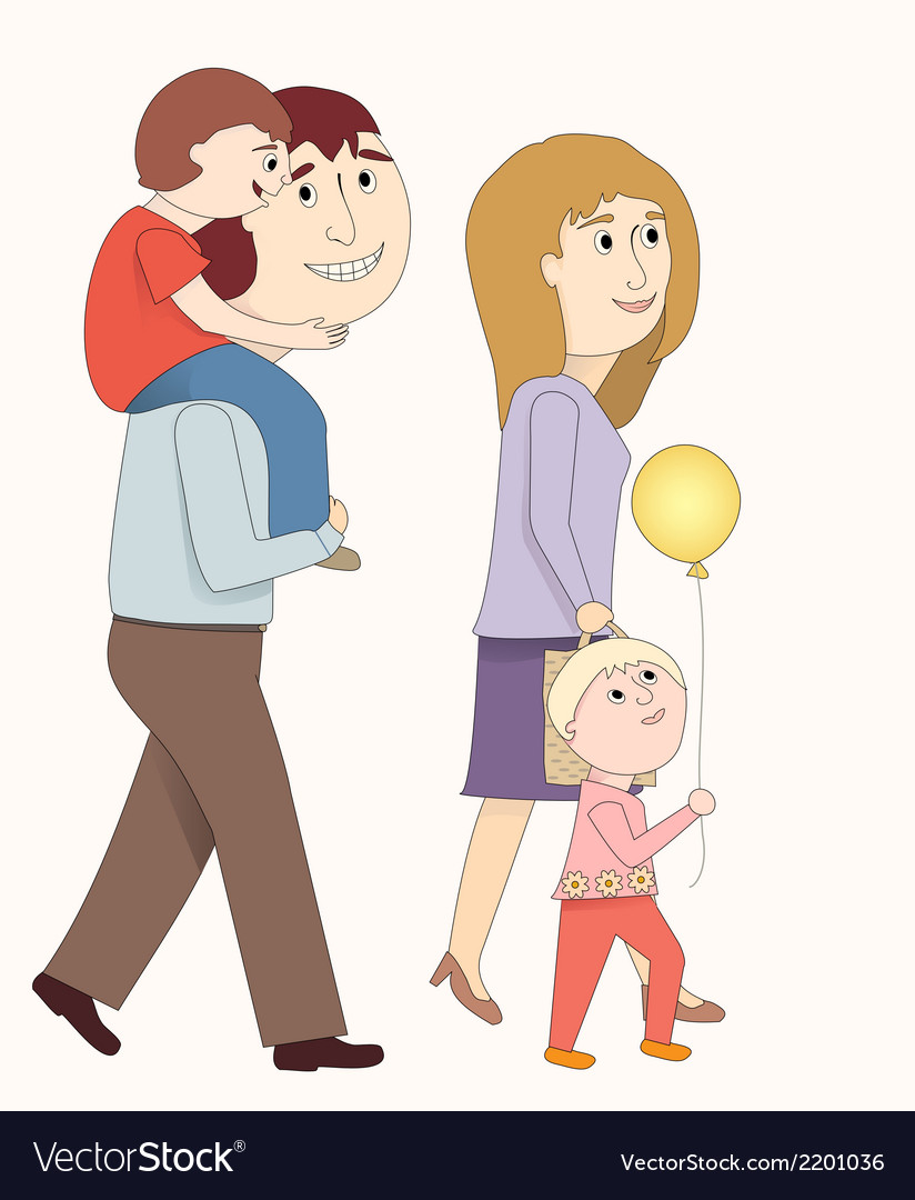 A family walking together vector | Price: 1 Credit (USD $1)