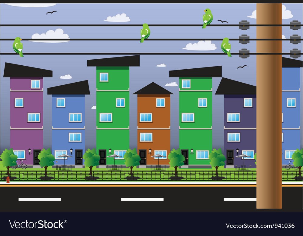 Buildings residential fiber cables vector | Price: 3 Credit (USD $3)