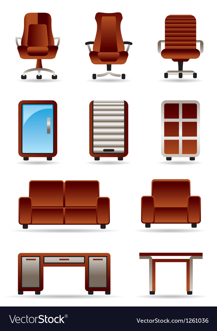 Business office furniture icon set vector | Price: 3 Credit (USD $3)