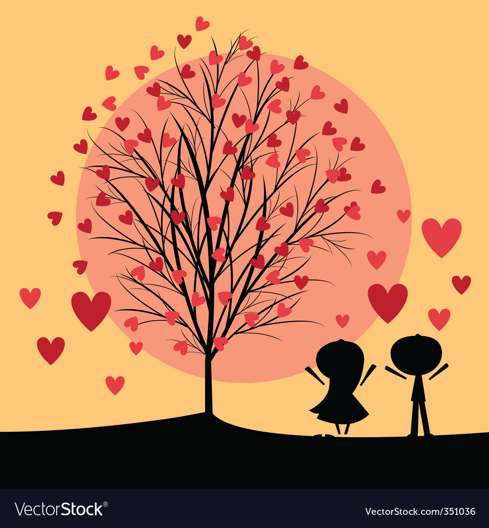 Couple under love tree vector | Price: 1 Credit (USD $1)