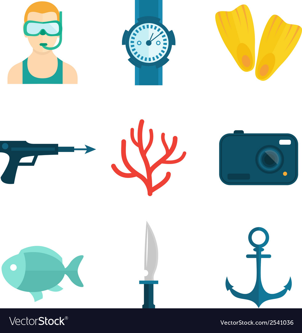 Diving icons flat vector | Price: 1 Credit (USD $1)