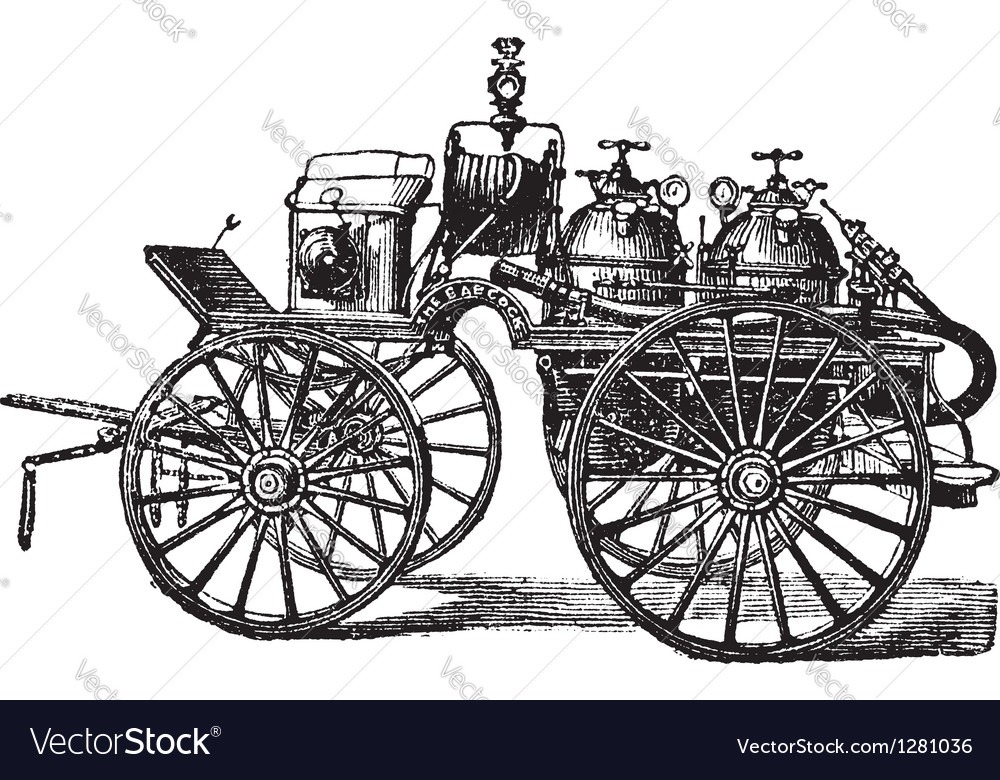Fire wagon vintage engraved vector | Price: 1 Credit (USD $1)