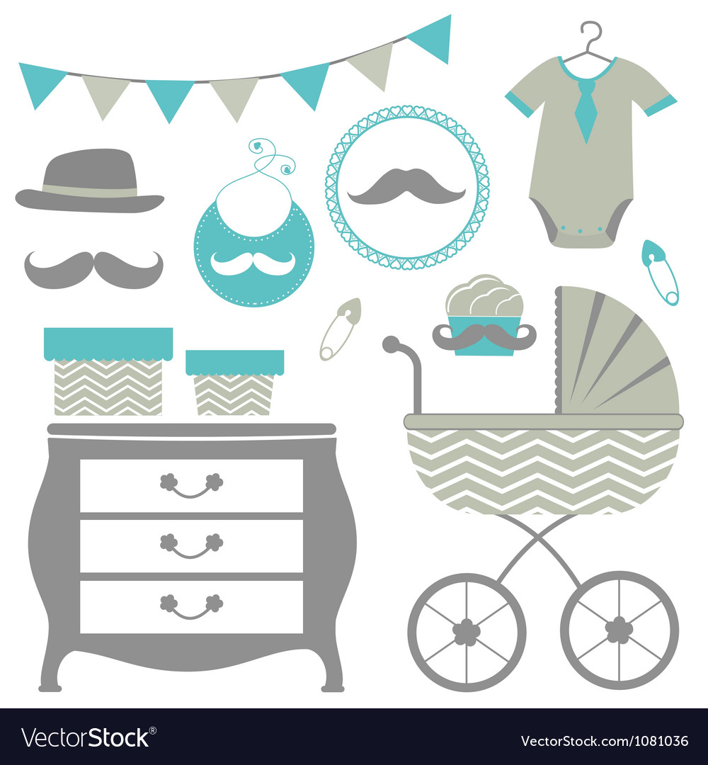 Little man is coming baby shower set vector | Price: 1 Credit (USD $1)