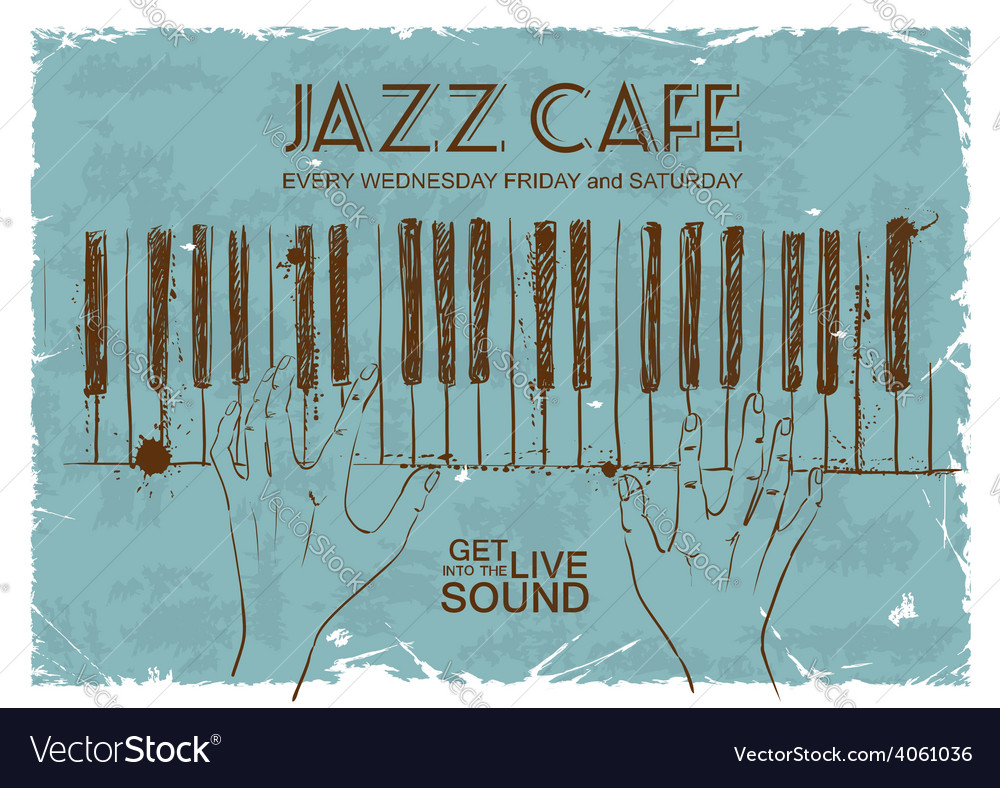 Poster with human hands playing the piano vector | Price: 1 Credit (USD $1)