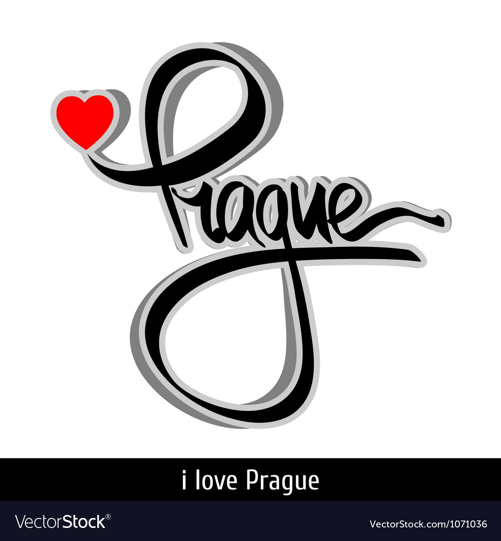 Prague greetings hand lettering calligraphy vector   Price: 1 Credit (USD $1)