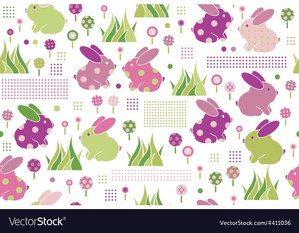 Rabbits flora pattern vector | Price: 1 Credit (USD $1)