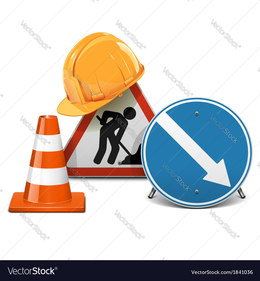 Road signs with helmet and cone vector | Price: 1 Credit (USD $1)