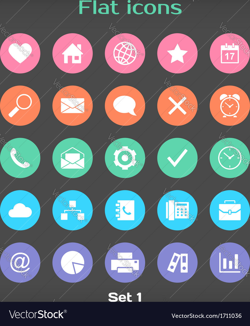 Round flat icon set 1 vector | Price: 1 Credit (USD $1)