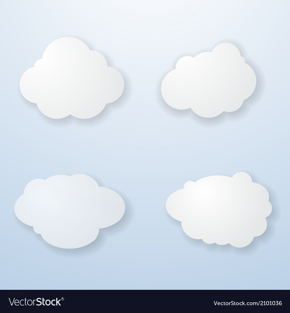 Set of paper clouds vector | Price: 1 Credit (USD $1)