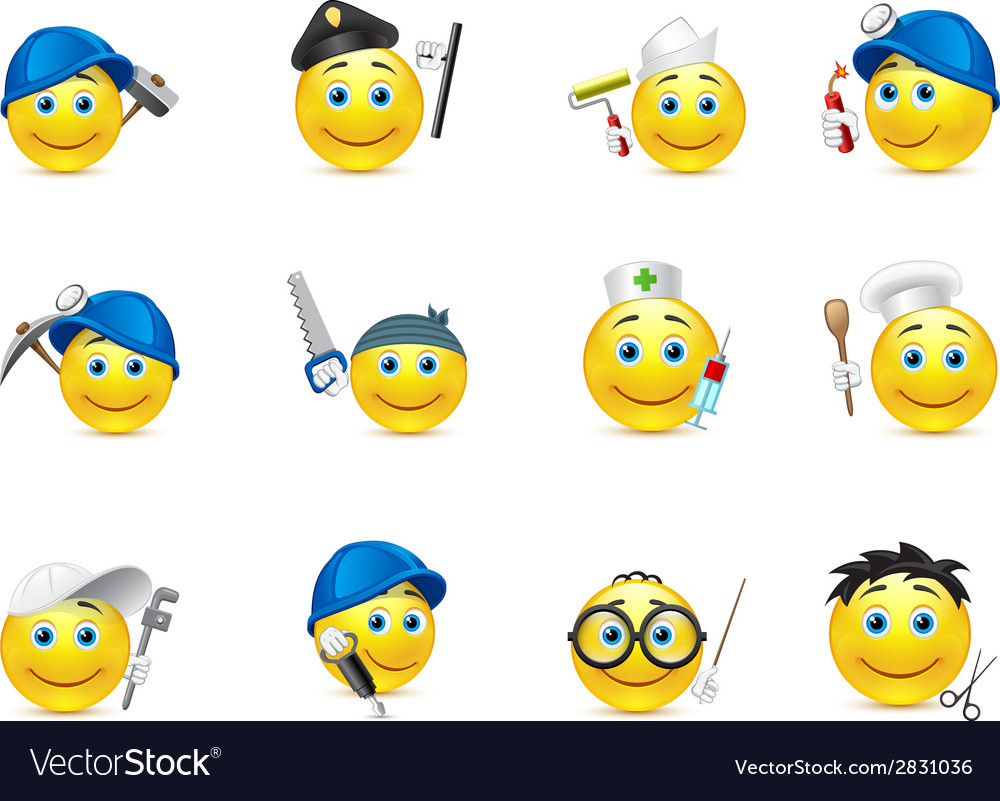 Smiley set of distributed in occupations vector | Price: 1 Credit (USD $1)