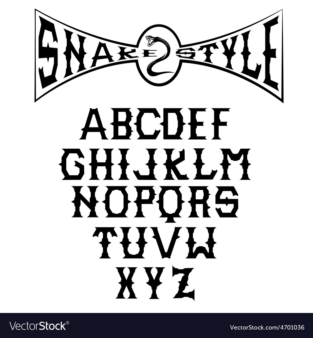 Snake style gothic alphabet vector | Price: 1 Credit (USD $1)
